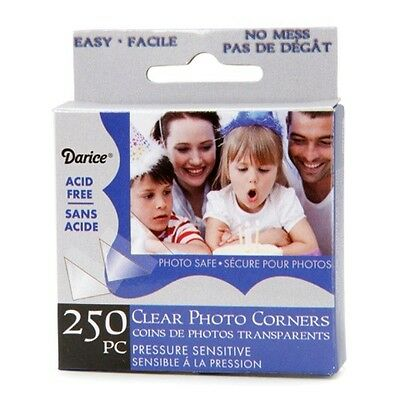 Darice 250-pc CLEAR Photo Corners Adhesive ACID FREE Archival Quality