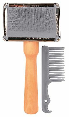 Soft Dog & Cat Grooming Brush with Wooden Handle & Brush Cleaner 6 x 13cm