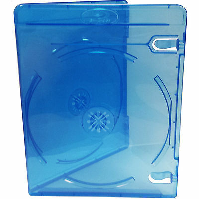 50x Genuine River Blue Double Slim Blu-ray Case 11mm Spine - Cover Face on Face