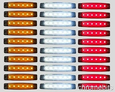 30 pcs 12V 6 LED SMD RED Orange White SIDE MARKER LIGHT POSITION TRUCK TRAILER