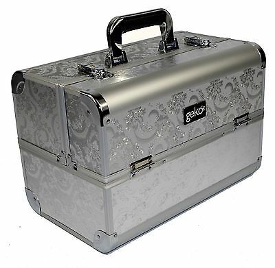 Silver Leaf Beautician Cosmetic Make up Box Vanity Jewellery Saloon Case D03
