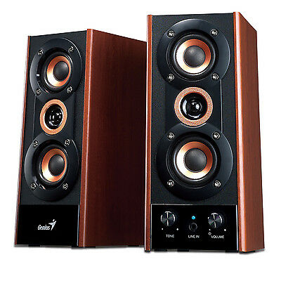 Genius Sp-Hf 2 Channel Wooden Stereo Speakers / 20W / Ideal For Home Audio / Pc