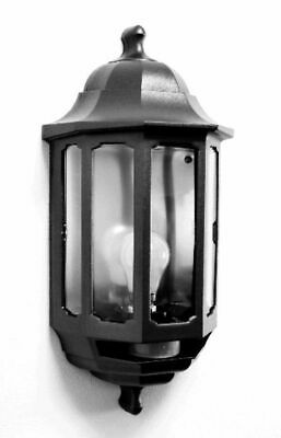 Black Half Lantern - Outside Wall Light -  60W GLS BC or 9W CFL BC Lamp - ASD