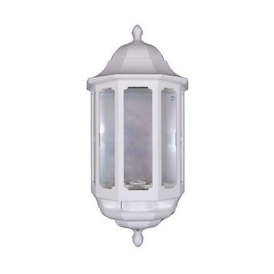 White ASD Half Lantern - Outdoor/Outside Wall Light With Dusk to Dawn Photocell
