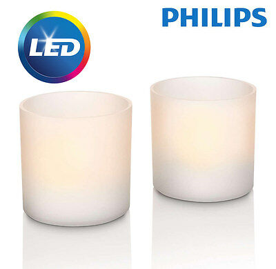 Philips Rechargeable Flickering Flameless White LED Tea Light Candle Set - NEW