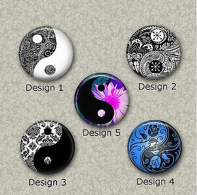 5 x 25mm Yin Yang Glass Or Resin Cabochons for Jewellery Making 2 Different Sets