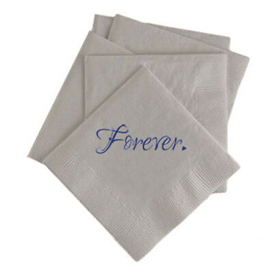 100 Custom Printed Forever Love Wedding Paper Napkins Beverage Cocktail