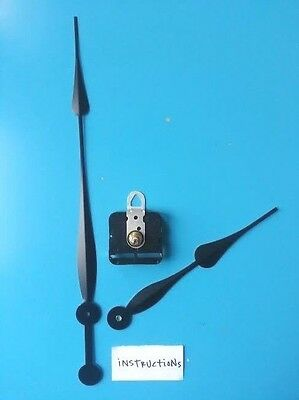 "24""+ Diameter Complete Clock Kit! Long Shaft Movement w/12"" Spade Hands (512-12)"