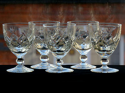 Royal Brierley Crystal Cut Glass Sherry Glasses Set Of 5 - Signed