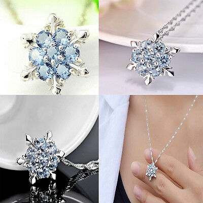 Charm lady Blue Crystal Snowflake Frozen Flower Silver Necklace Nice Pendant Hot
