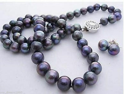 NEW 7-8mm Black Freshwater Cultured Pearl Necklace 18''& Earring Set