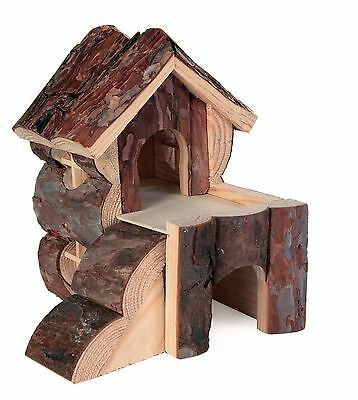 Bjork Natural Wooden 2 Storey Play House with Ramp for Gerbils Mice & Hamsters