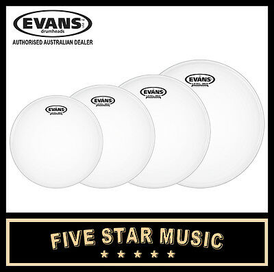 "Evans G2 Coated 4 Pce Drum Skin Rock Set 10"" 12"" 14"" 16"" Heads New"