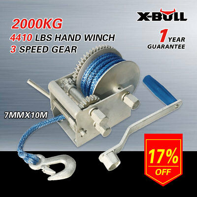 X-BULL 2000KG/4410LBS Hand Winch Dyneema Rope Boat Car Marine Trailer 3 speed