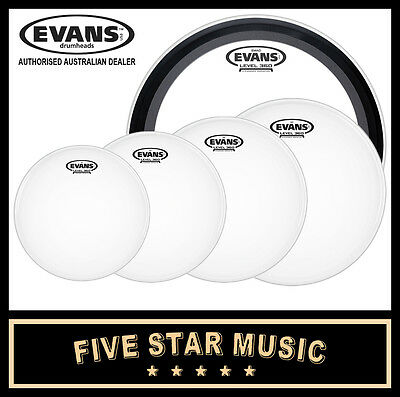 "Evans G2 Coated 5 Pce Drum Skin Standard Emad Set 12"" 13"" 14"" 16"" 22"" Heads New"