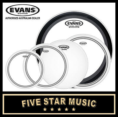 "Evans Ec2 Sst Clear 5 Pce Drum Skin Rock Emad Set 10"" 12"" 14"" 16"" 22"" Heads New"