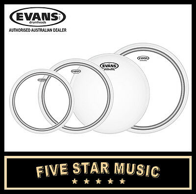 "Evans Ec2 Sst Clear 4 Pce Drum Skin Fusion Set 10"" 12"" 14"" 14"" Heads New"