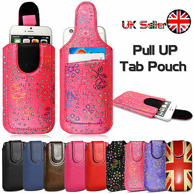 Luxury Genuine PU Leather Pull Tab Slide In Top Flip Up Phone Case Pouch Sleeve