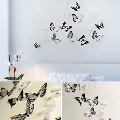DIY 3D 18pc Décoration Papillon PVC Art Decal Stickers muraux Black / White EH