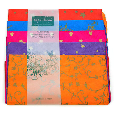 Fair Trade Lokta Paper Five Sheet Gift Wrap Pack GWP57