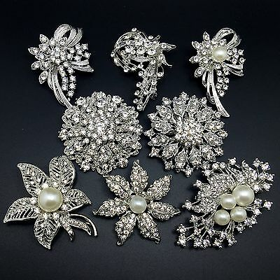 Lot 8pc Vintage Silver Rhinestone Crystal Brooches Pin Mixed Set Wedding Bouquet