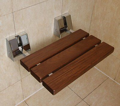 Wall Mounted Bathroom Solid Wood TEAK Fold up Shower Seat | holds upto 150kg