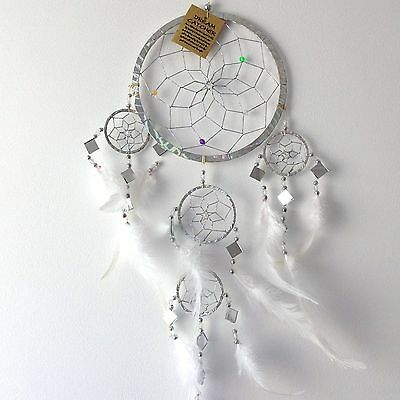 New Silver Feather Dream Catcher Native American Hanging Mobile