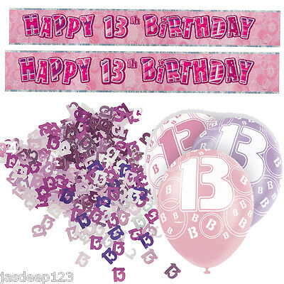 Pink 13th Birthday Banner Party Decorations Pack Kit Set Balloons Glitz Girl