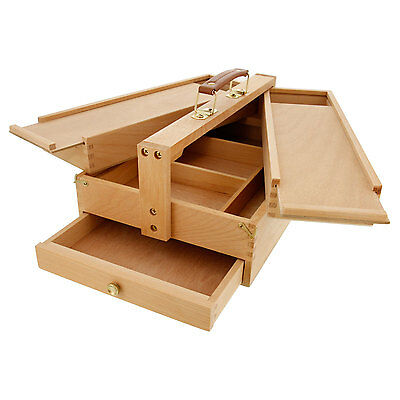 US Art Supply Large Multi-Function Wooden Artist Tool & Brush Storage Box Draw