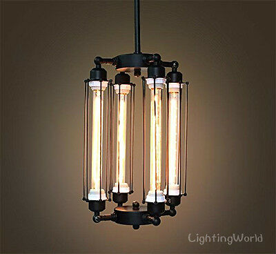 Tube Big Cage Edison Bulb Chandelier 4 lights Mid Century pendant