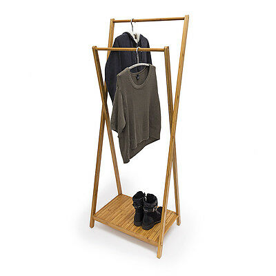 Bamboo Wardrobe Stand 2156x56.5x40 cm Clothing Storage Clothes Rail Coat Stand
