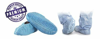 100pcs Blue Disposable Dust Rain Water Resist Shoe Covers One Size Fits All - XL