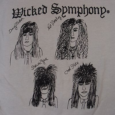 WICKED SYMPHONY: Rare Heavy Metal Private Rock T-Shirt 80s Sex Pistols Vintage