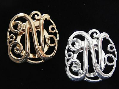 NWT WOMEN/'S SILVER OR GOLD LETTER /'E/' MONOGRAM FASHION SCARF RING//CLIP//SLIDER
