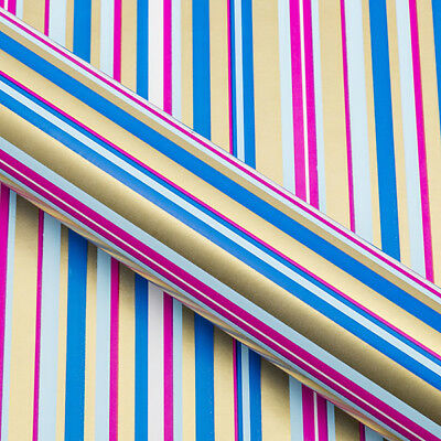Blue, Pink, Gold Stripes Wrapping paper, Counter roll, gift wrap,500mm x 50m