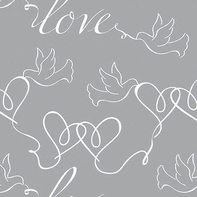 Silver w/ White Hearts & Doves Wrapping paper,Counter roll,gift wrap,500mm x 50m