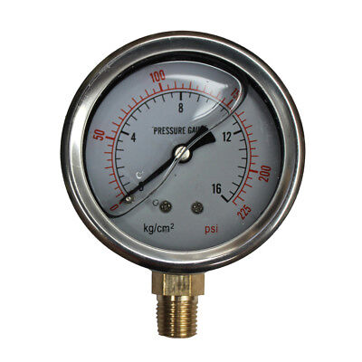 "240PSI Pressure Gauge 16Bar Liquid Fille G1/4"" Dia 2.5"" 63mm Stainless 94049009"