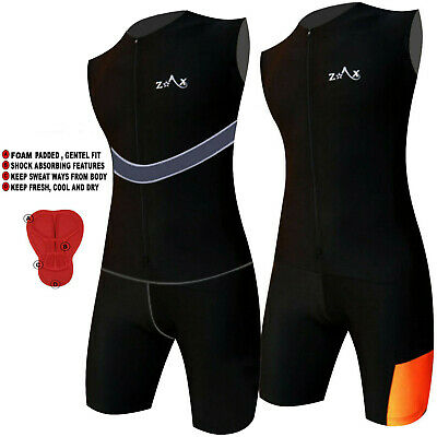 Mens Triathlon Suit Tri Suit Padded Swimming Cycling Running Yoga Skin Suit