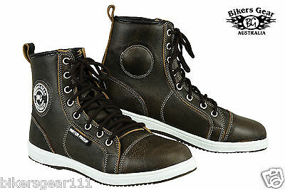 New Mens Sturgis Waterproof Motorcycle Casual Sneaker Real Leather Touring Boot