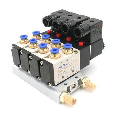 DC 24V Single Head 2 Position 5 Way 4 Pneumatic Solenoid Valve with Base