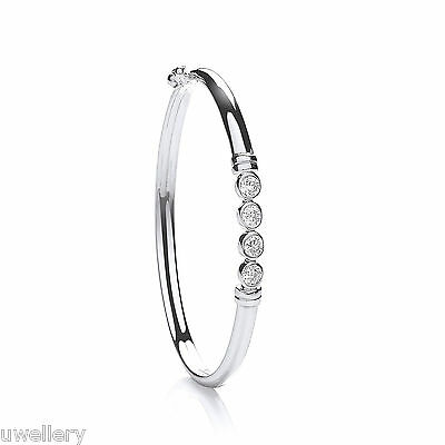 "925 Sterling Silver Genuine CZ Stone Baby Bangle Hallmarked 5.5"" FREE UK POST"