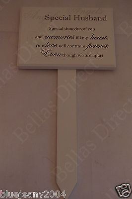 Special Husband Special Thoughts Cream Wooden Memorial Plaque Grave Stick 3A