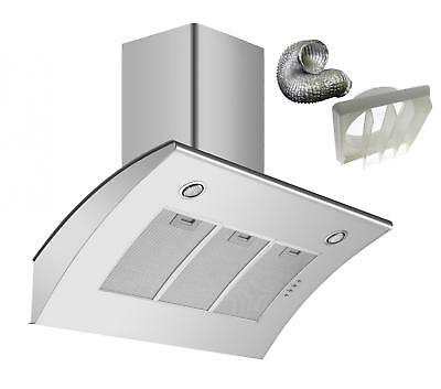 Cookology ARCH900SS 90cm Angled Stainless Steel Chimney Hood & Ducting Kit