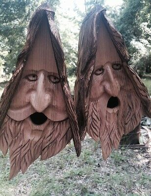 2 Hand Carved Wood Spirit Old Man Face Cedar Birdhouses With Hair