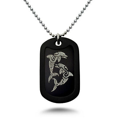 Made in USA Aluminum Dog Tag Necklace with Engraved Ying Yang Dolphins -DOJAN122