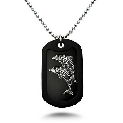 Made in USA Aluminum Dog Tag Necklace with Engraved Jumping Dolphins -DOJAN123