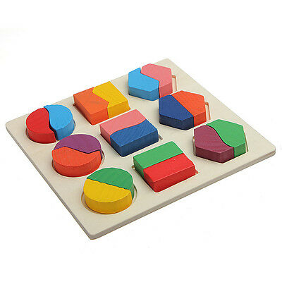 Wooden Geometry Block Puzzle Montessori Early Learning Educational Toy US Seller