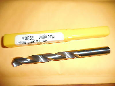 "New Morse Cutting Tools #51125 Solid Carbide Drill 3/8"" Bright , Made In Usa"
