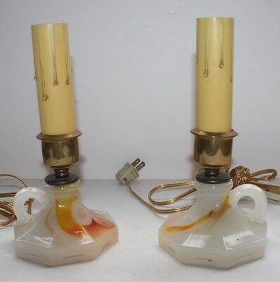 Antique pair marble alladin style electric table lamps rewired.