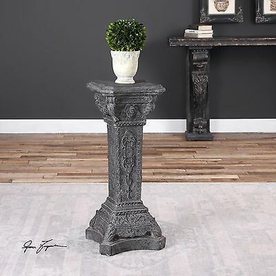 Aged Stone Charcoal Gray & White Finish Display Pedestal Plant Or Statue Stand